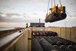 Трубы для строительства газопровода Северный поток-2 в немецком порту Мукран