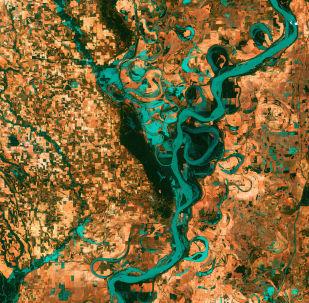 Вид на изгибы реки Миссисипи в Северной Америке из космоса