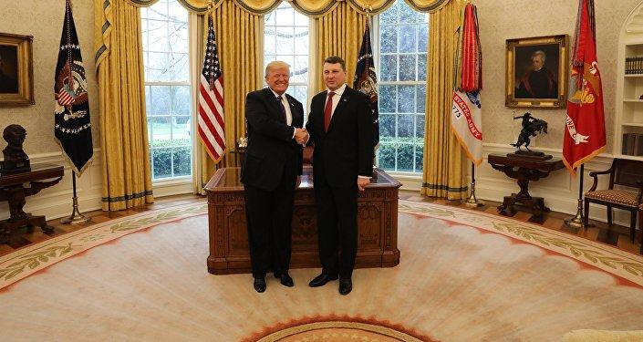 ASV prezidents Donalds Tramps Latvijas prezidents Raimonds Vējonis Vašingtonā