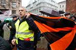 Александр Гапоненко на Марше рассерженных родителей в Риге в знак протеста против реформы в русских школах