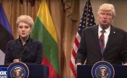 У Дали сумасшедшая прическа: SNL сняло пародию на встречу Трампа с балтийскими лидерами