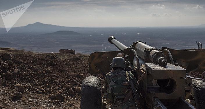 Военнослужащий Сирийской арабской армии (САА) на огневой позиции, архивное фото