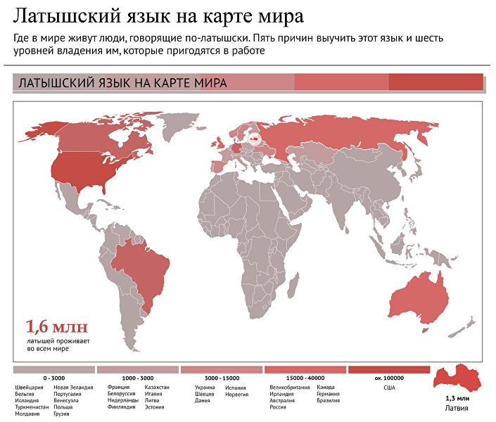 Латышский язык на карте мира