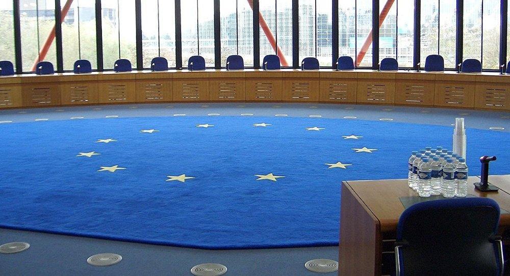 Eiropas Cilvēktiesību tiesa. Tiesas zāle. Foto no arhīva