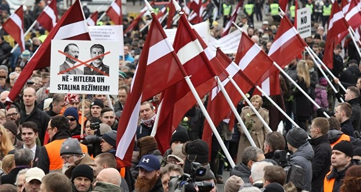 SS leģiona veterānu maršs Rīgā